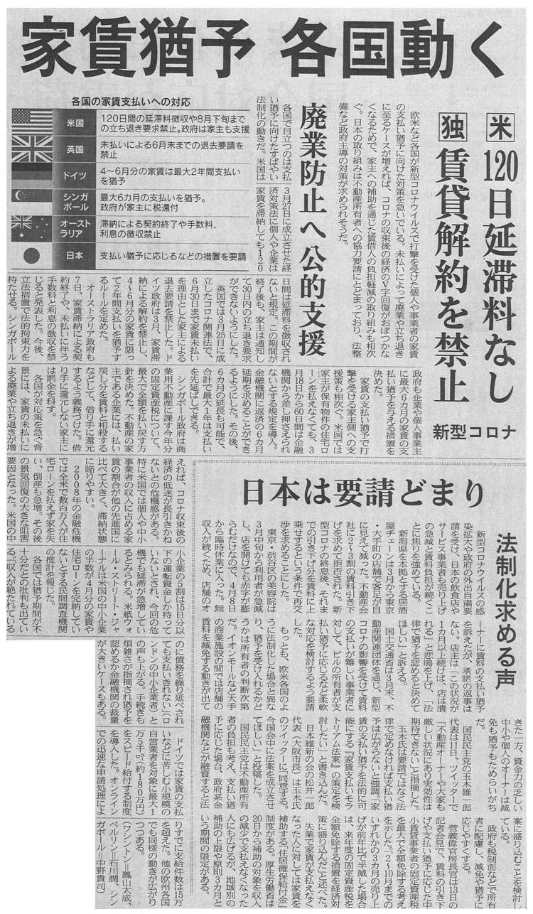 日経新聞 家賃支払い猶予